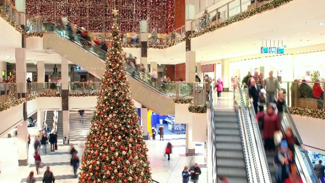 Christmas shoppers in a mall